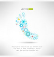 Feet massage sign and logo with gears health vector