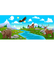 Mountain landscape with river and animals vector