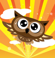 Owl flying quickly vector