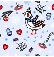 Winter seamless blue background with birds vector