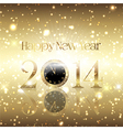 Golden happy new year background with a clock vector