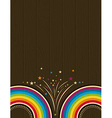 Wooden background with rainbow vector