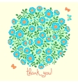 Card with floral bouquet and text thank you vector