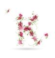 Floral letter k for your design vector