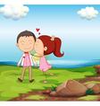 A sweet couple near the river vector