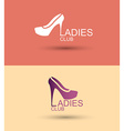 Logo women shoe stylized concept for a womens club vector