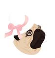 Pug lady dog ribbon vector