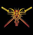 Sword dragon fire on white background vector
