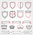 Set line shields heraldic crowns ribbons ar vector