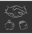 Business and finance sketch set on black vector