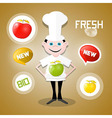 Cook - chef with apples and fresh new bio icons vector