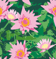 Seamless pattern with pink lotus flowers and green vector