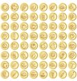 Golden buttons with food symbols vector
