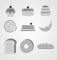 Variety of bakery icons on grey background vector