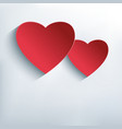Stylish abstract background with two red 3d heart vector