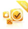 Glossy yellow orange metallic button vector