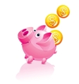 Piggy bank and falling money vector