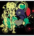 Retro elephant with hearts vector
