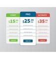 Pricing comparison table vector