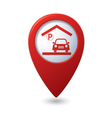 Parking under roof icon red map pointer vector
