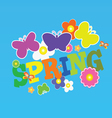 Spring with flower and butterfly color vector