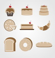 Variety of bakery color icons vector