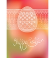 Easter egg card design with folk decoration vector
