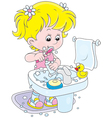 Child brushing teeth vector