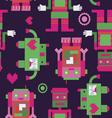 Three robots seamless pattern vector