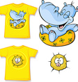 Kid shirt with funny hippo love printed - isolated vector