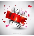 3d word love with hearts vector