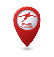 Shark icon red map pointer vector
