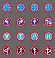 Road sign colorful icons on gray background vector