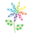 Rainbow mosaic spiky daisy made out of many small vector