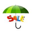 Green umbrella with sale sticker vector