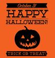 Jack o lantern typographic halloween card in vector