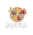 Grunge pizza with leaves design template vector