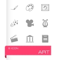 Black art icons set vector
