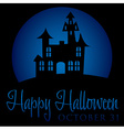 Haunted house rising moon halloween card in format vector