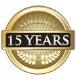 Fifteen years experience gold vector