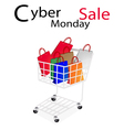 Shopping bags in cyber monday shopping cart vector