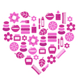 Pink cosmetic heart vector