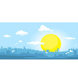 City at sunset - horizontal vector