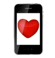Abstract design mobile phone with heart love vector