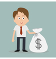 Businessman and big money bag vector