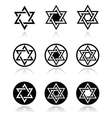 Jewish star of david icons set isolated on white vector