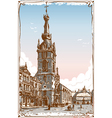 Vintage view of chimay church place in belgium vector