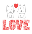 Love cat and dog vector