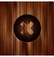 Delete web icon close symbol wooden texture vector