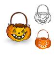 Halloween monsters isolated spooky pumpkin vector